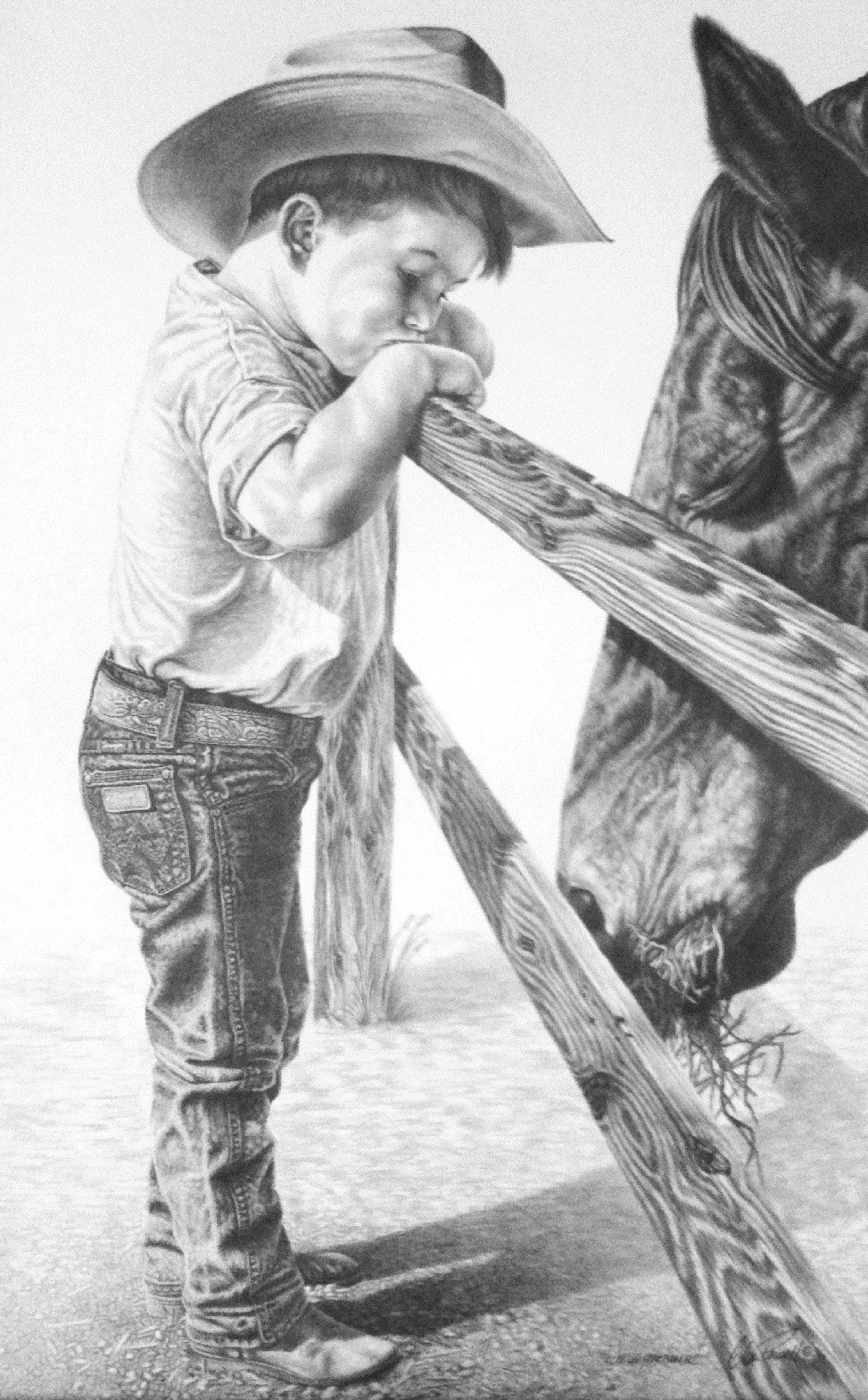 Cowboy And Horse Sketches hard To Get 18 X 24 2